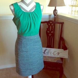 Banana Republic Green Tweed Sleeveless Dress